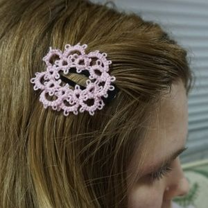 Pastel Pink Tatted Flower Hair Accessory